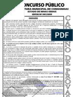 Consul Plan 2010 Prefeitura de Congonhas Mg Tecnico de Lab Oratorio a Prova