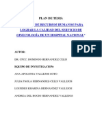 Gestion Recursos Humanos Calidad Servicio Ginecologia Hospital Daniel Alcides Carrion Peru