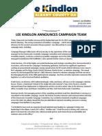 02.08.12 - Lee Kindlon Announces Campaign Team