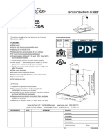 Broan EW58 Specifications