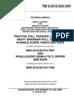 Caterpillar D8K Tractor Serial 77V5006-UP Parts Catalog TM-5-2410-234-34P