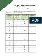 Matemáticas (apartado 2.4) - Relaciones entre dividendo, divisor y cociente