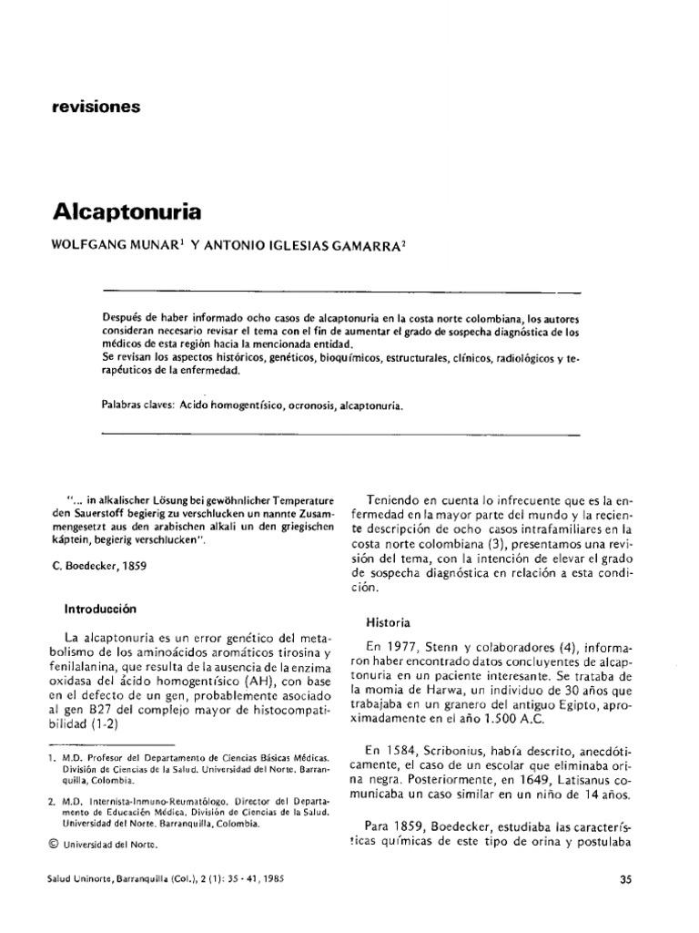 Alcaptonuria