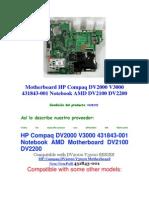 Motherboard HP Compaq DV2000 V3000 431843