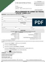 Formulaire de Carnet de Travail - Chien LOF