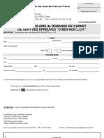 Formulaire de Carnet de Travail - Chien Non LOF