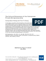 The Cultural Dimensions of the Vietnamese Private Entrepreneurship