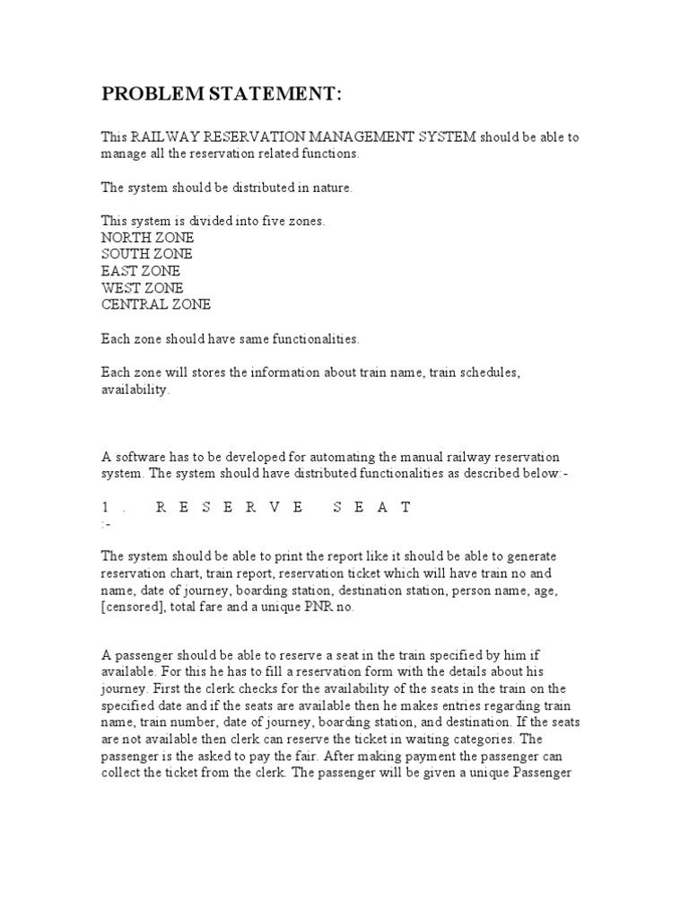 Problem Statement for Railway | Ticket (Admission) | Login