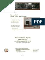 Revenue Status Report FY 2011-2012 - General Fund 20111231