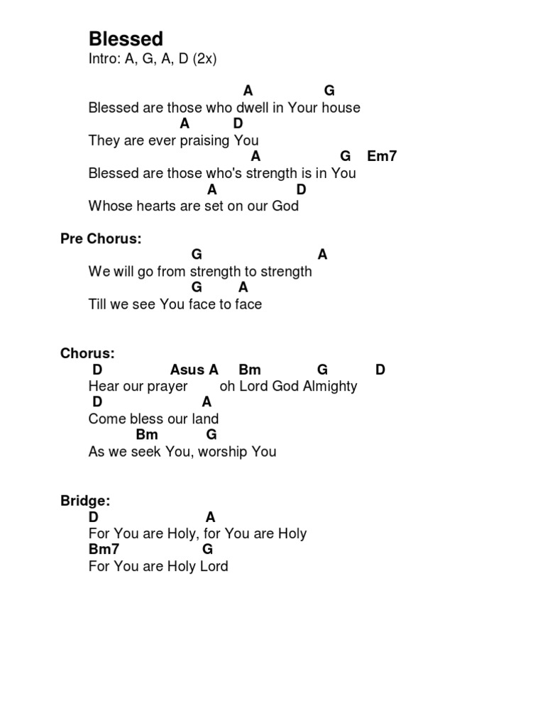 Blessed - Hillsongs (D)CHORDS