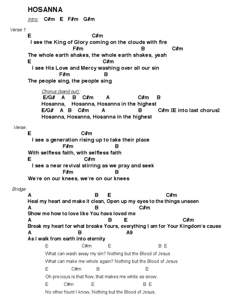 Lyric no other name lyrics hillsong : Hosanna Hillsong CHORDS
