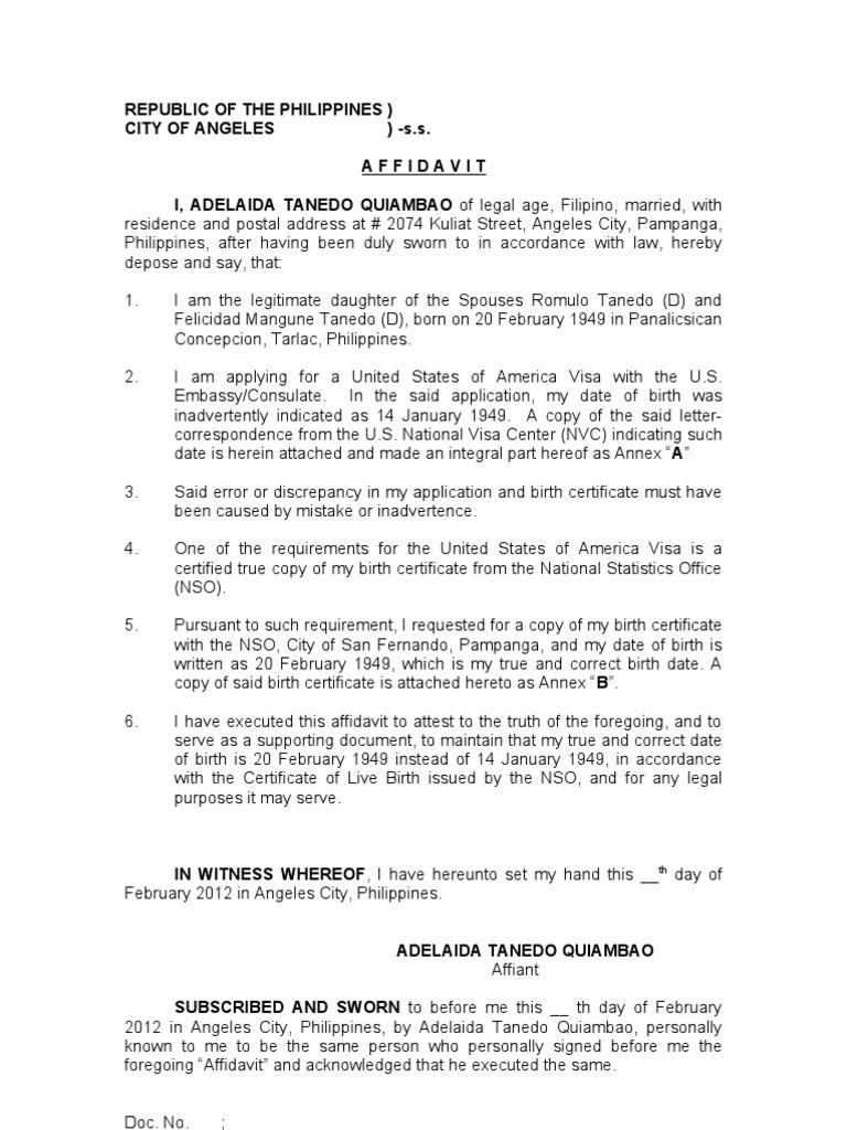 Affidavit of discrepancy date of birth quiambao adelaida aiddatafo Gallery