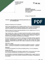 Prise de Position ACG - Projet de Constitution