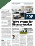 """""""Volvo bygger för kinesiska marknaden"""", för LO-tidningen"""