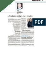 """""""Vogliamo aiutare chi è isolato"""" - Il Resto del Carlino dell'8 febbraio 2012"""