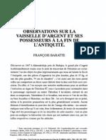 Baratte - Observations Sur La Vaiselle d'Argent