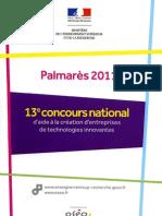 Palmares 2011 Du 13e Concours National d Aide a La Creation d Entreprises de Technologies In Nov Antes 184091