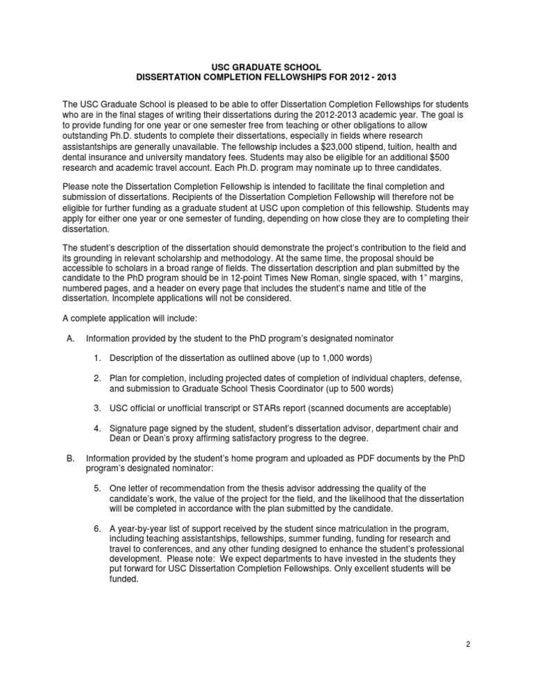 dissertation completion