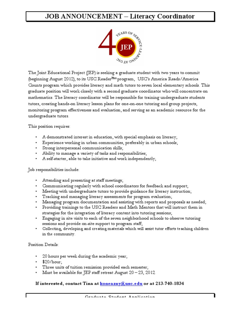 Job Announcement- Literacy | Tutor | Literacy