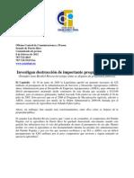 Investigan destrucción de importante programa agrícola (Senador Luis Berdiel Rivera investiga cómo se dispuso de propiedad pública)