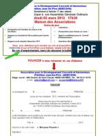 Invitation Pouvoir AG 2 Mars 2012