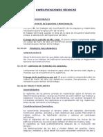 ESPECIFICACIONES TÉCNICAS de DUCHAS