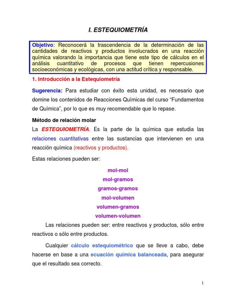 I. Estequiometra