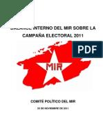 BALANCE INTERNO DEL MIR SOBRE LA CAMPAÑA ELECTORAL 2011