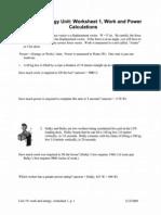 Work Energy Worksheet Packet