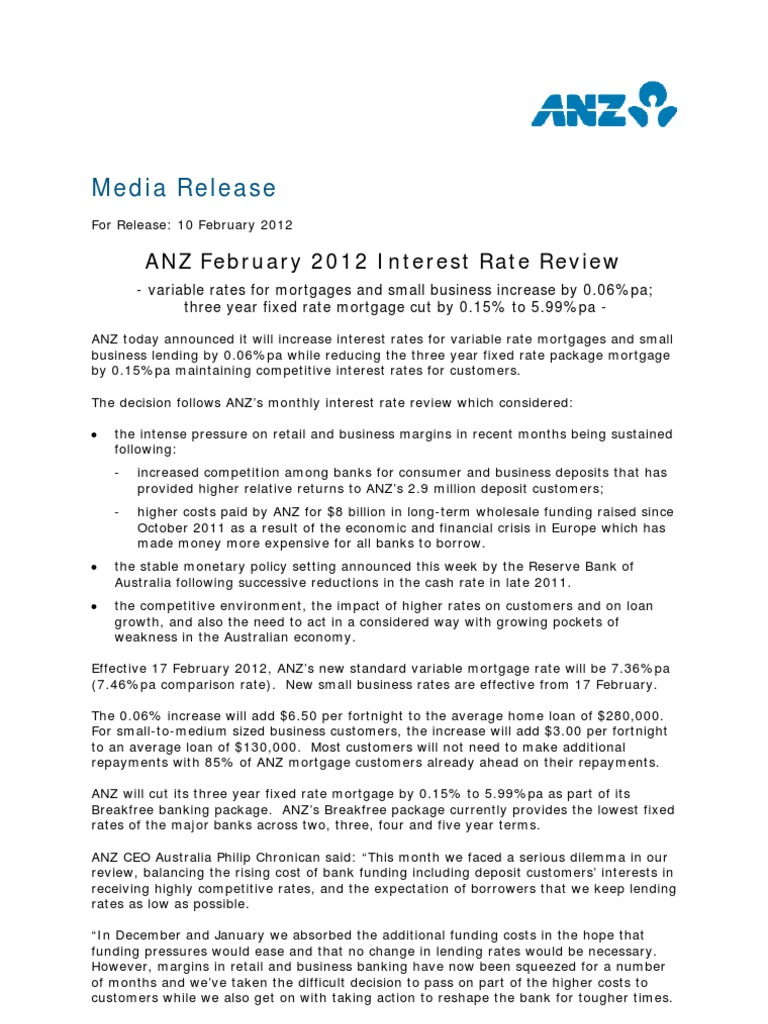 anz february rates review | mortgage loan | banks