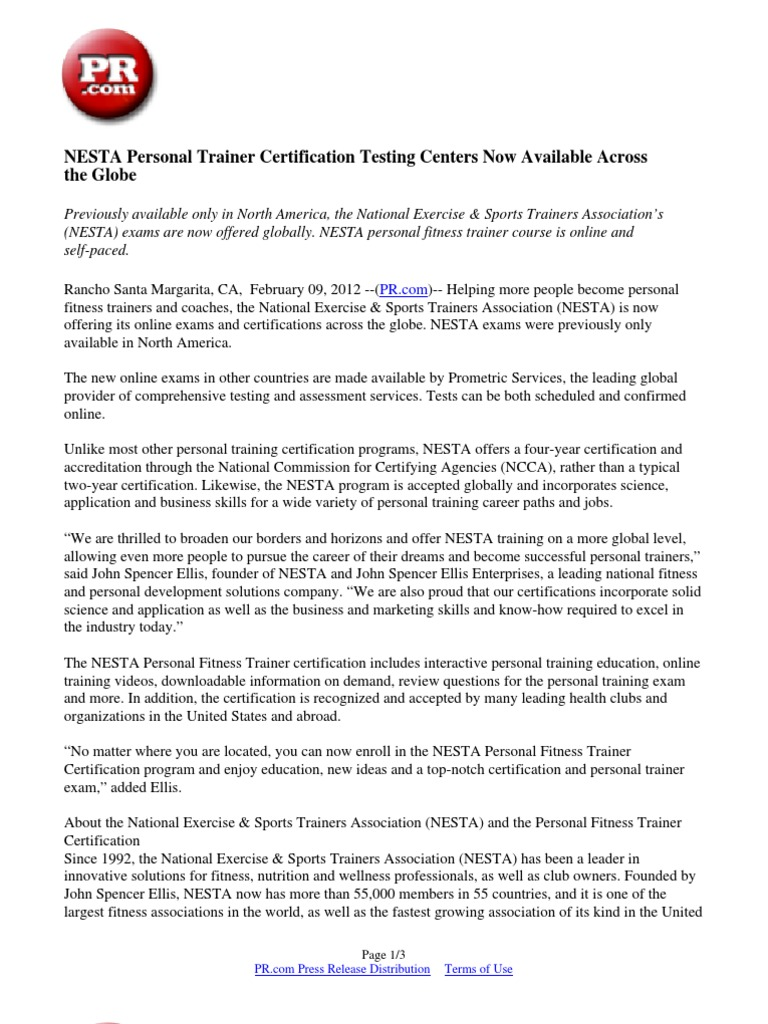 Nesta Personal Trainer Certification Testing Centers Now Available