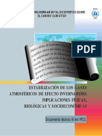 Stabilization of Atmospheric Greenhouse Gases - Physical, Biological and Socio-Economic Implications - Spanish