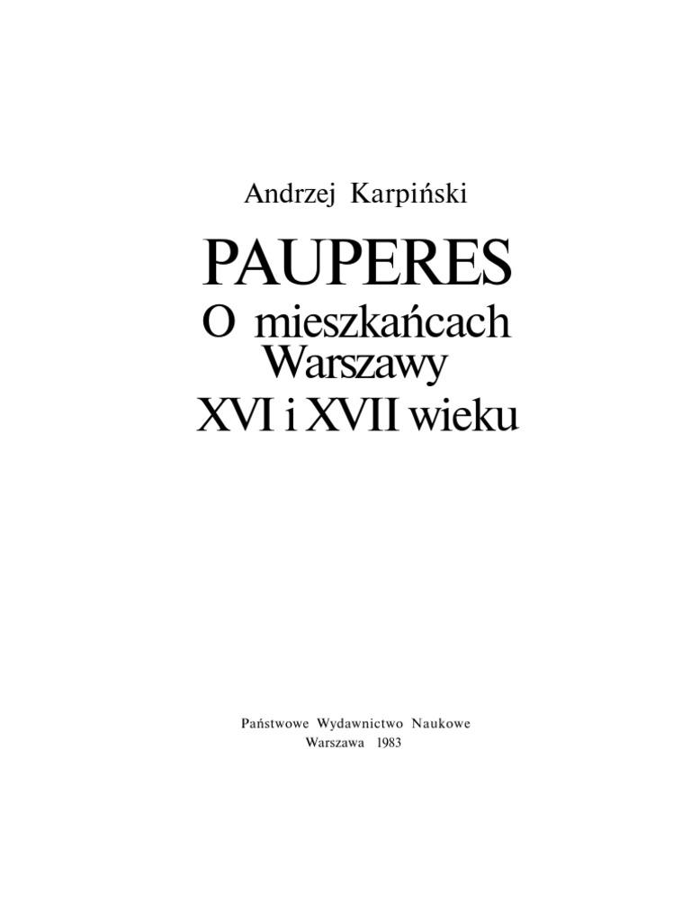 Pauperes O Mieszkancach Warszawy Xvi I Xvii Wieku