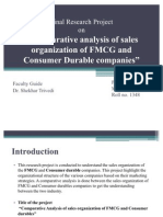 Sales organisation of 3 FMCG and 3 consumer durable companies