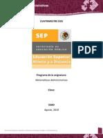 Programa Desarrollado Matemáticas Administrativas. Segundo Cuatrimestre. Administración Empresas Turísticas ESAD