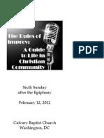 Bulletin for February 12, 2012 at Calvary Baptist Church, Washington, DC