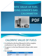 CALORIFIC VALUE OF FUEL USING JUNKER'S GAS CALORIMETER