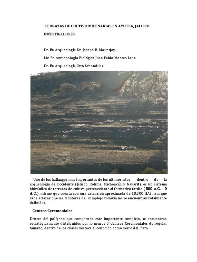 Terrazas De Cultivo Mil En Arias En Ayutla Arqueología