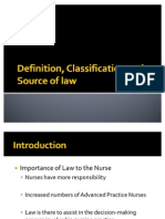 Definition, Classification and Source of Law