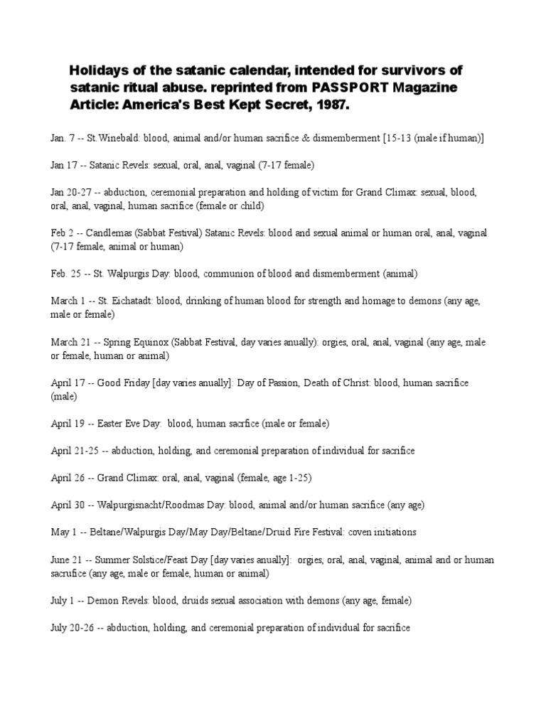Satanic Abuse Ritual Calendar