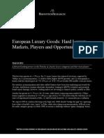 European Luxury Goods; Hard Luxury - Markets, Players, Opportunities
