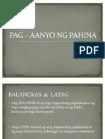 PAG – AANYO NG PAHINA