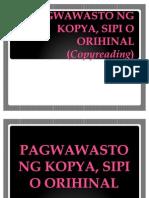 PAGWAWASTO NG KOPYA
