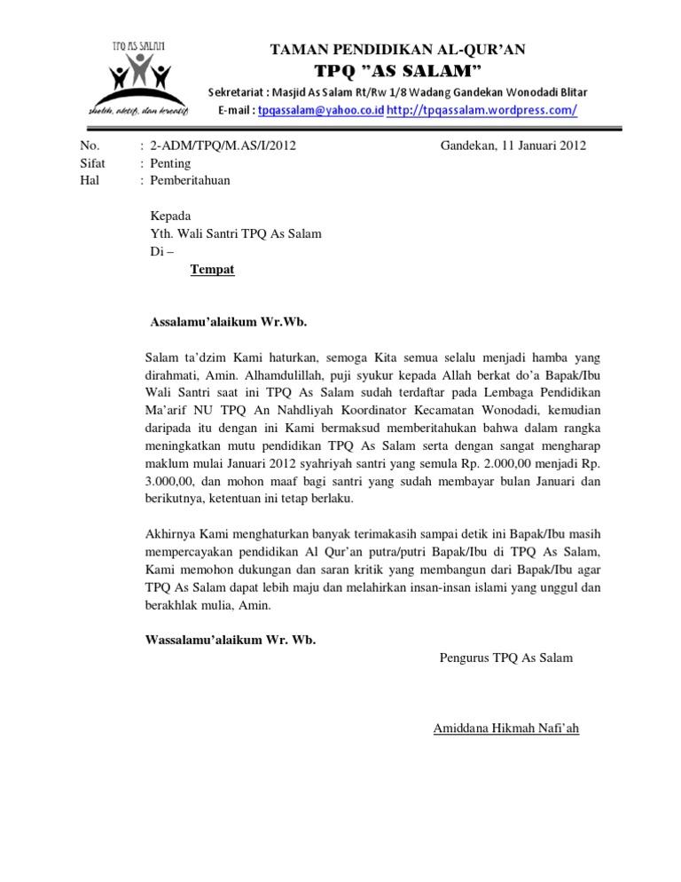 Contoh Surat Pemberitahuan Informasi Seputar Dunia Militer