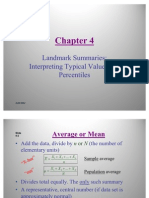 Statistics- Landmark Summaries Interpreting Typical Values and Percentiles