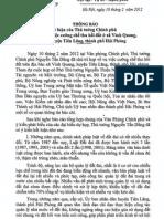 Thông báo kết luận của Thủ tướng Chính phủ về vụ việc cưỡng chế thu hồi đất ở xã Vinh Quang, huyện Tiên Lãng, Thành phố Hải Phòng.