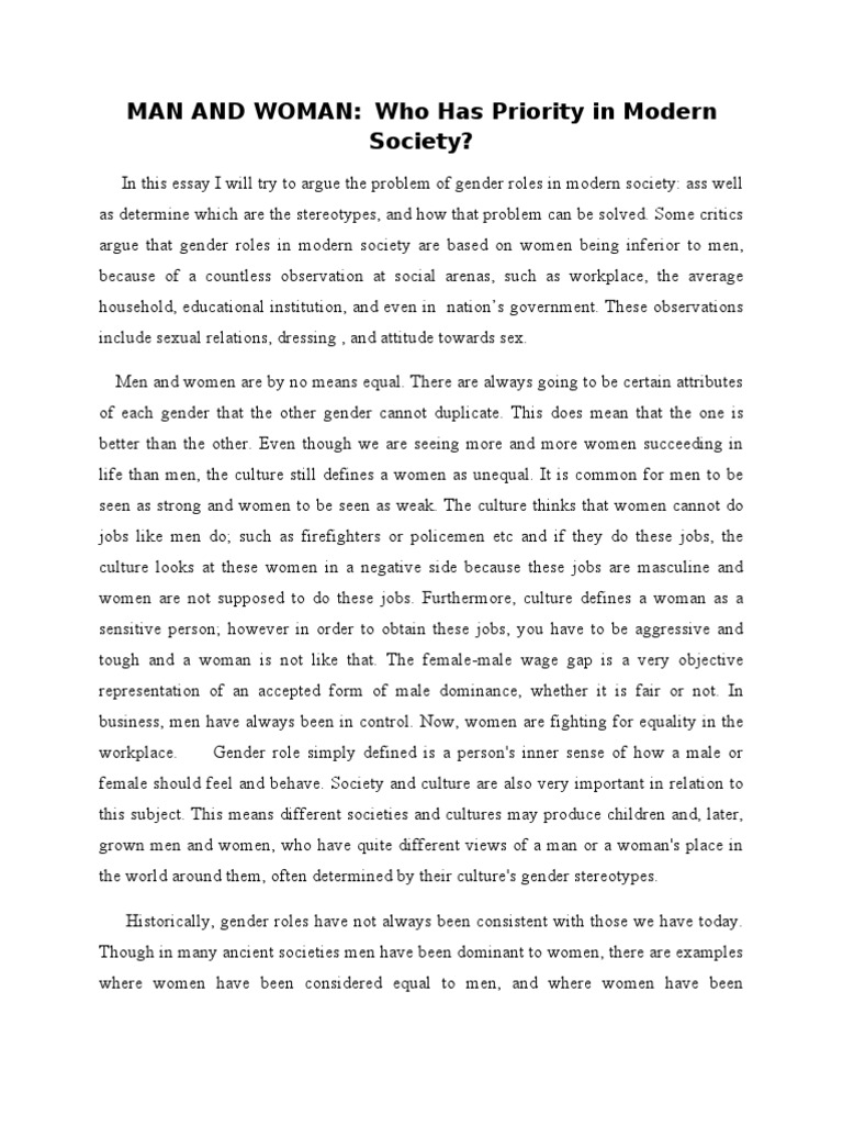 argumentative essay on man and woman should have equal rights