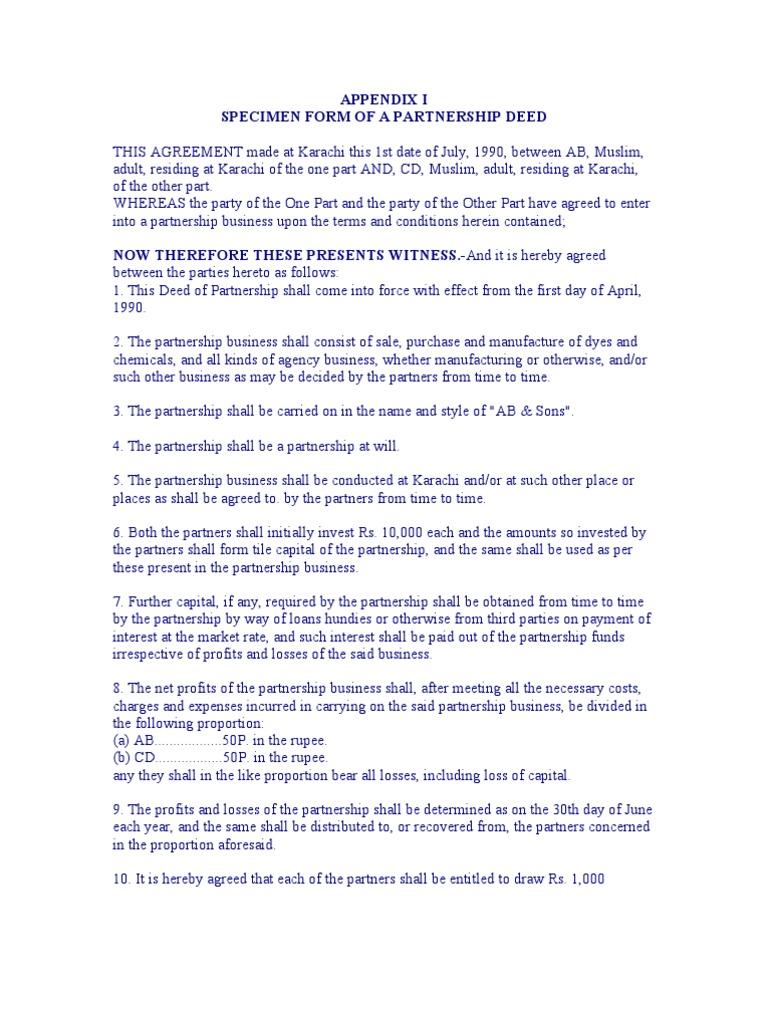 Partnership deed partnership debits and credits altavistaventures Gallery