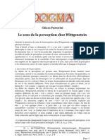 Chiara Pastorini - Le sens de La perception chez Wittgenstein