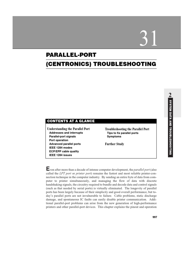 Ieee 1284a Parallel Port Connector Pinout Schematic Diagram Wiring Paralel Tshooting Troubleshooting Personal Computers